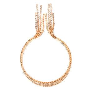 Rose Gold Rhinestone Fringe Cuff Bracelet,