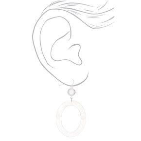"""Silver 2.5"""" Oval Resin Drop Earrings - White,"""