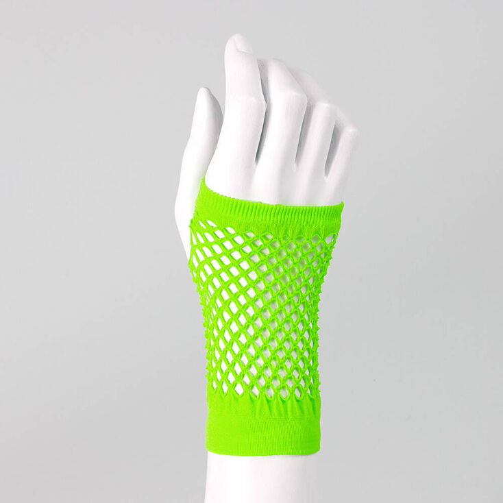 Neon Flash Fishnet Gloves - Green,