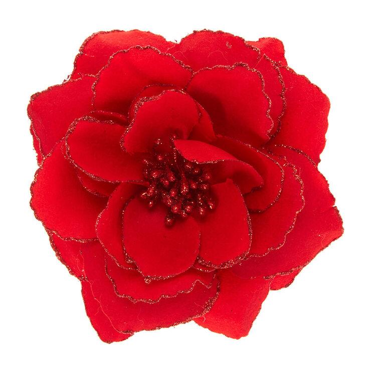 Red Glitter Rose Hair Barrette,