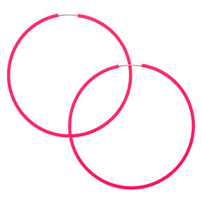 60MM Neon Hoop Earrings -  Pink,
