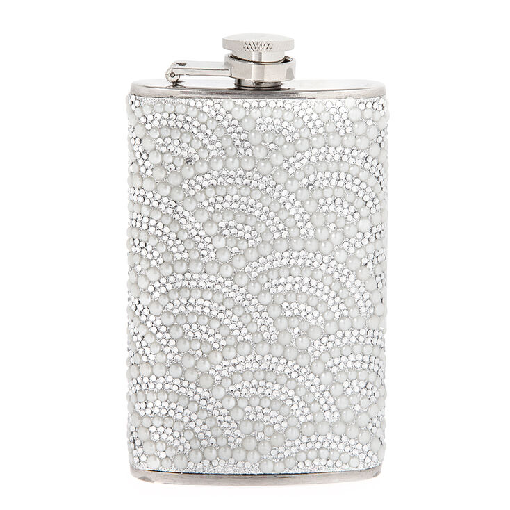 Scalloped Rhinestone & Pearl Flask,