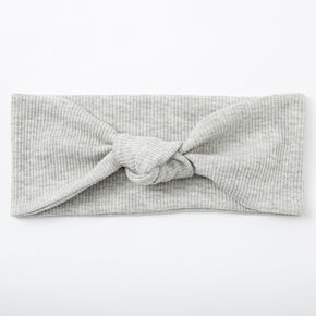Ribbed Knotted Headwrap - Light Gray,
