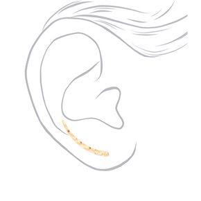 "Gold 1"" Textured Ear Crawler Earrings,"