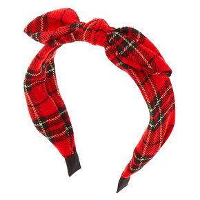 Plaid Knotted Headwrap - Red,