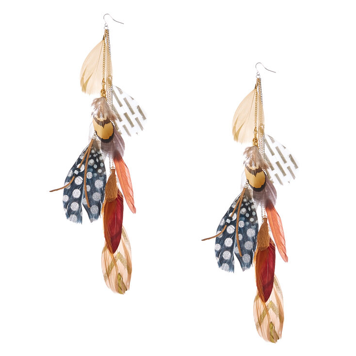 Brown Aztec Feathers Drop Earrings,