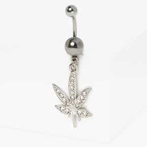 Silver14G Embellished Mary Jane Leaf Belly Ring,