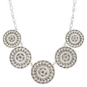 Long Chain Disk Statement Necklace,