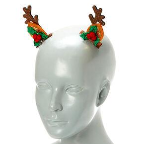 Reindeer Ear Hair Clips - Brown, 2 Pack,