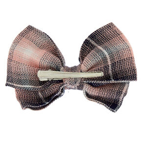 Preppy Plaid Hair Bow Clip - Pink,