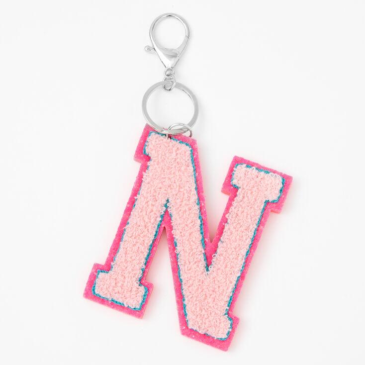 Pink Varsity Initial Keychain - N,