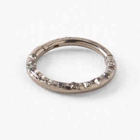 Silver Titanium 18G Studded Hoop Nose Ring,