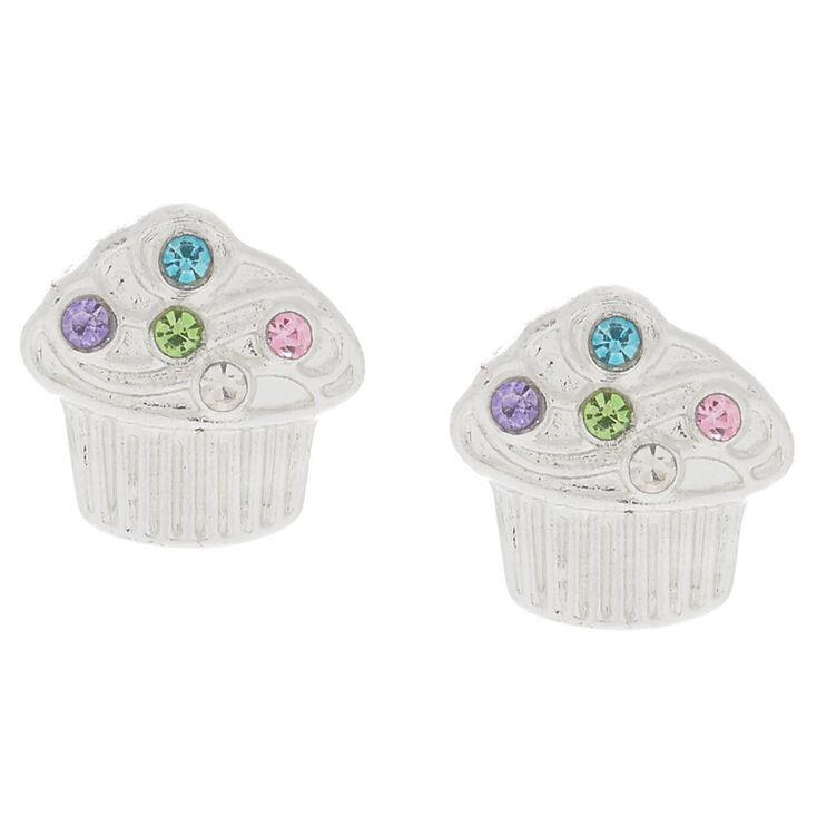 Silver Cupcake Stud Earrings,