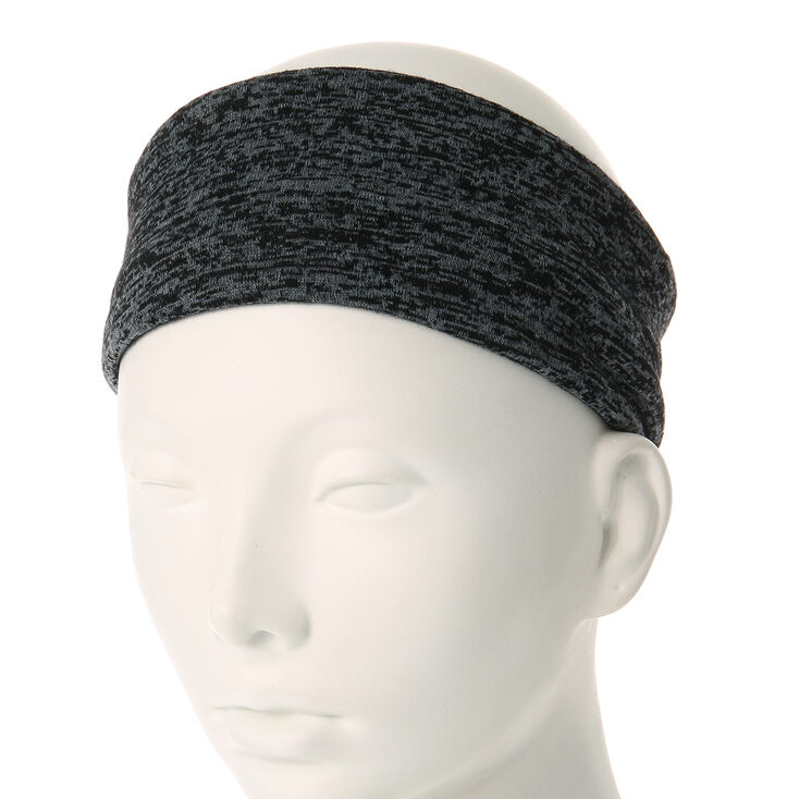 Extra Wide Gray Jersey Knit Headwrap,