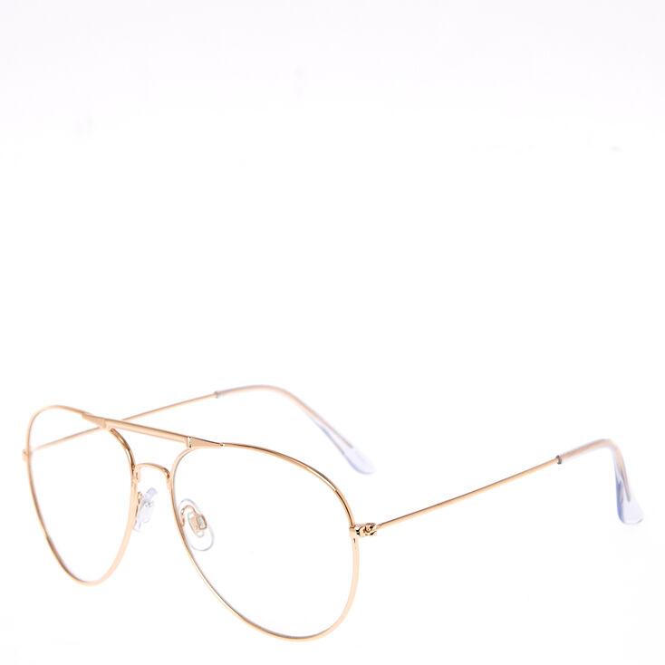 Rose Gold Aviator Clear Lens Frames,