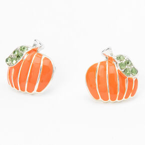 Silver Embellished Pumpkin Stud Earrings - Orange,