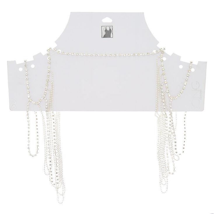 Silver Glass Rhinestone Shoulder Body Chain,