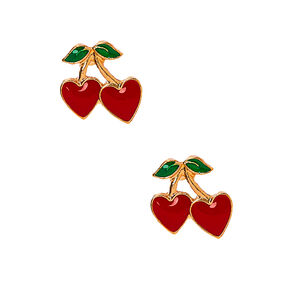 Gold Cherry Heart Stud Earrings - Red,