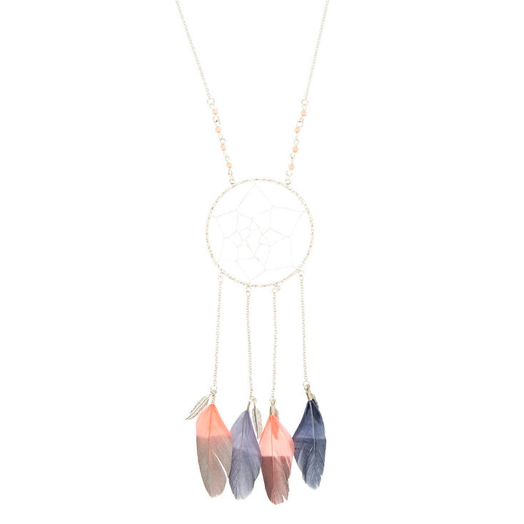 Pink and Silver Dreamcatcher Necklace,
