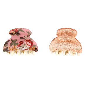 Floral Glam Glitter Mini Hair Claws - Pink, 2 Pack,