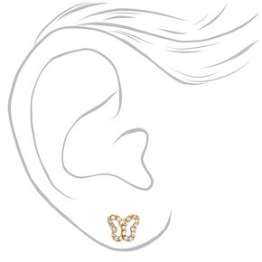 18kt Gold Plated Crystal Butterfly Stud Earrings,