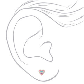 Sterling Silver Crystal Pastel Heart Stud Earrings,