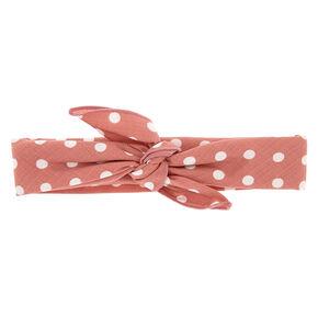 Polka Dot Knotted Bandana Headwrap - Mauve,