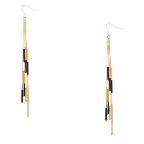 "4.5"" Gold Bar Bead Drop Earrings - Black,"
