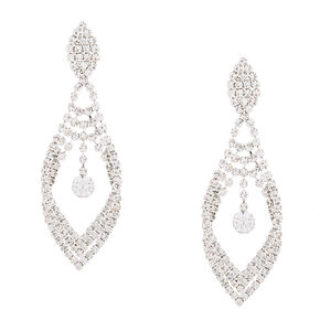 "Silver Rhinestone 2"" Chandelier Teardrop Drop Earrings,"