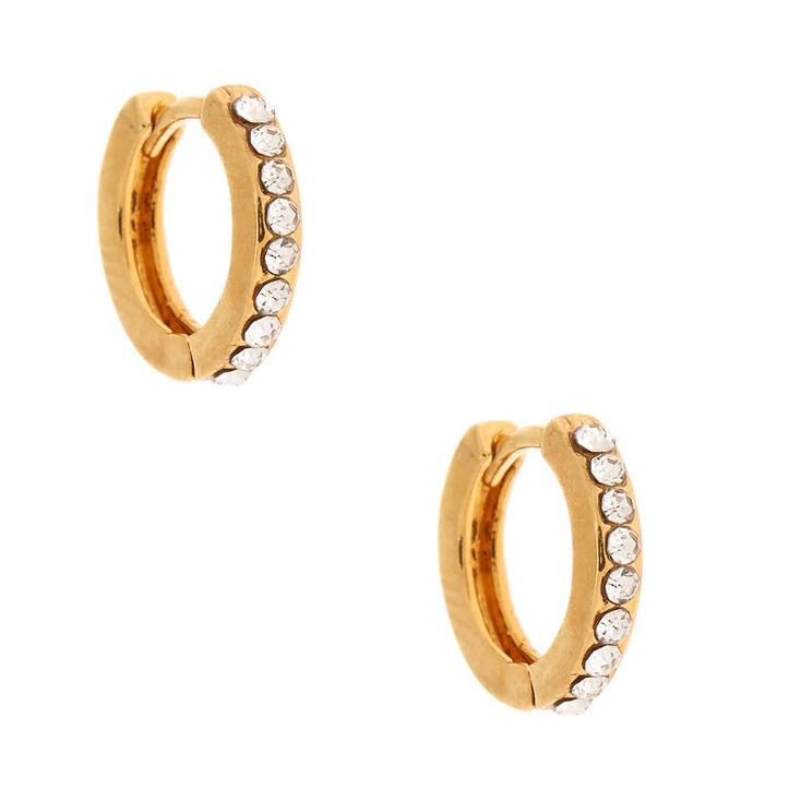 18kt Gold Plated 10MM Embellished Huggie Hoop Earrings,