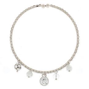 Glass Rhinestone Charm Cuff Bracelet - Silver,