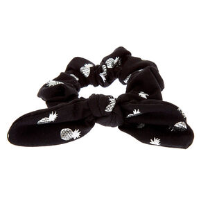 Small Pineapple Knotted Bow Hair Scrunchie - Black,