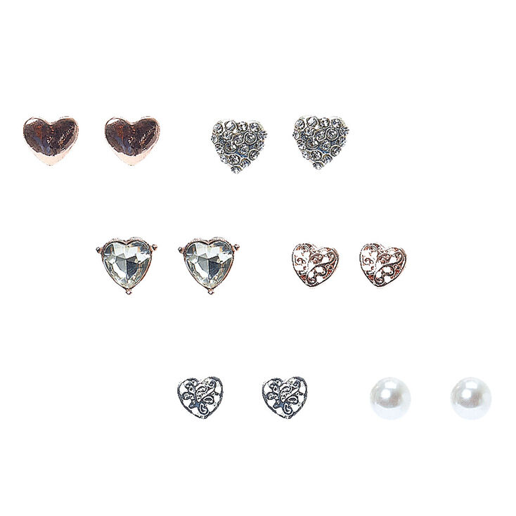 Rose-Gold Tone Heart Motif Stud Earrings,
