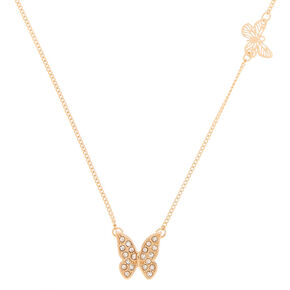 Gold Butterfly Pendant Necklace,