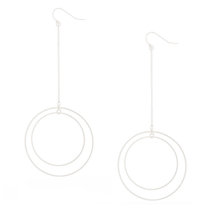 "Silver 4"" Double Circle Drop Earrings,"