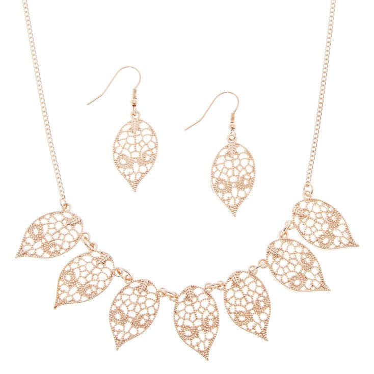 Rose Gold Filigree Leaf Jewelry Set,