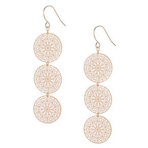 Filigree Gold Tone Circle Drop Earrings,