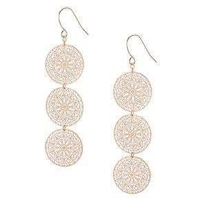 Filigree Gold Tone Circle Drop Earrings,