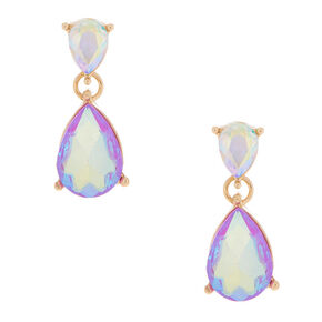 Iridescent Lilac Teardrop Drop Earrings,