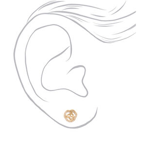 Gold Pearl Flower Stud Earrings,