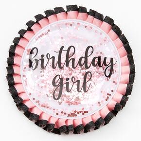 Birthday Girl Shaker Glitter Button - Pink,
