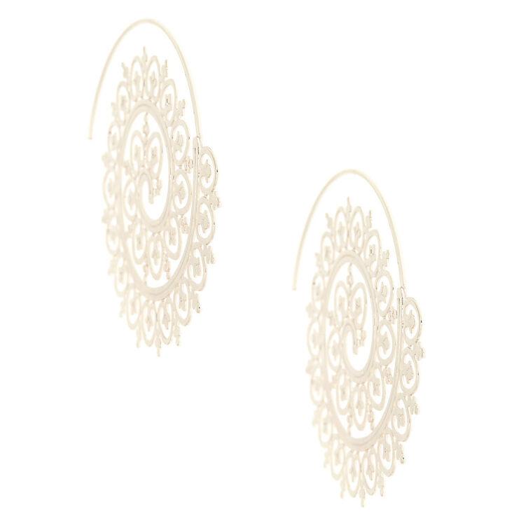 Silver 50MM Filigree Swirl Hoop Earrings,