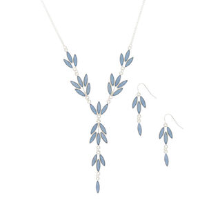 Silver Leaf Jewelry Set - Blue, 2 Pack,