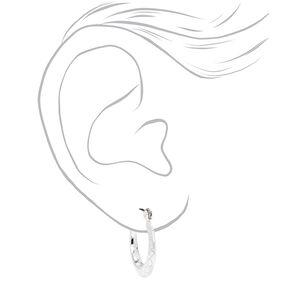 Silver 20MM Delicate Swirl Hoop Earrings,