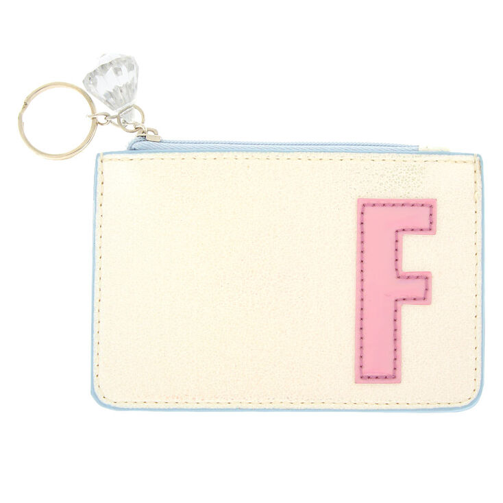 Pearlescent Initial Coin Purse - F,