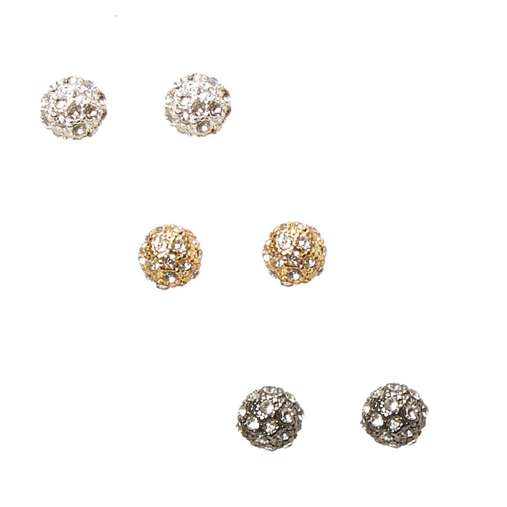 Mixed Metal Hammered Fireball Stud Earrings,