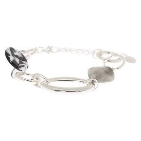Silver Resin Stone Chain Bracelet,