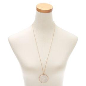 Gold Iridescent Long Pendant Necklace - White,