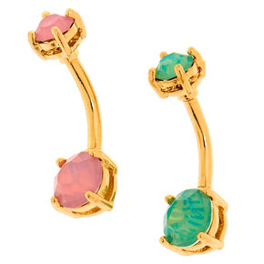 Gold 14G Sherbet Belly Rings - 2 Pack,