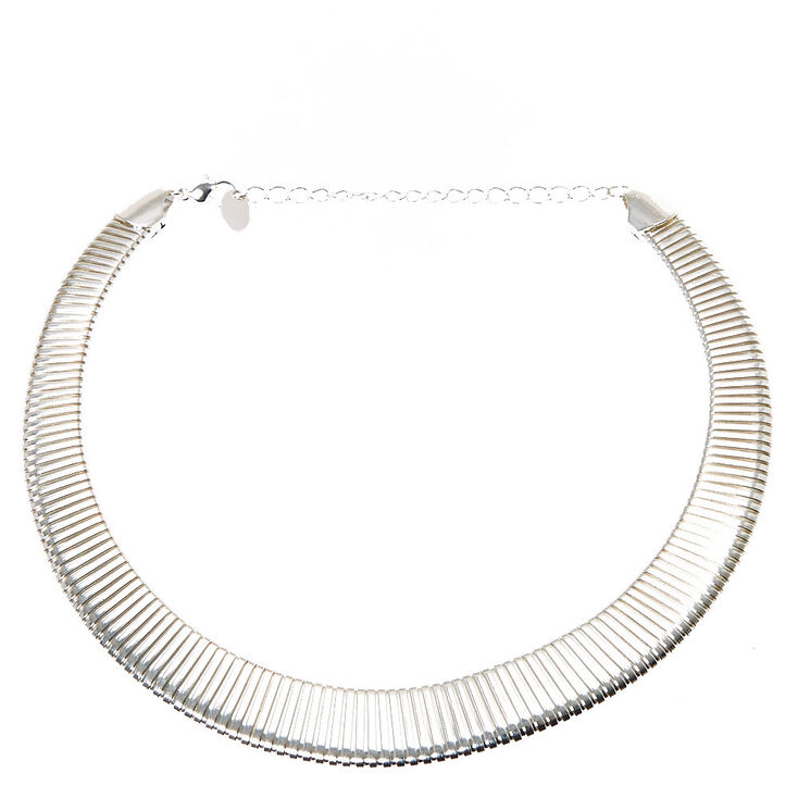 Silver Stripes Thick Band Necklace,